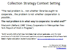 Collection Strategy Context Setting