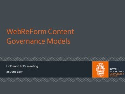 WebReForm  Content Governance Models