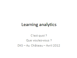 Learning  analytics C'est quoi ?