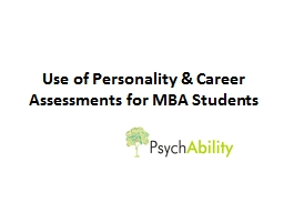 Use of Personality & Career Assessments for MBA Students