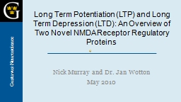 Long Term Potentiation (LTP) and Long Term Depression (LTD): An Overview of Two Novel NMDA Receptor