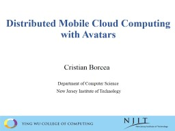 Distributed Mobile Cloud Computing with Avatars