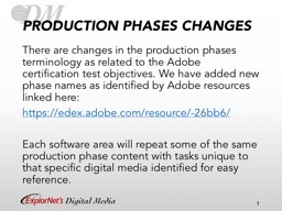 PRODUCTION PHASES CHANGES