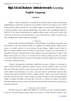 International Journal of Scientific and Research Publications Volume  Issue  September  ISSN    LJKFKRROWXGHQWVWWLWXGHWRZDUGV Learning English Language Gajalakshmi Abstract study was attempted to inve