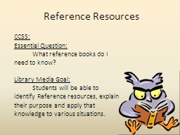 Reference Resources CCSS: