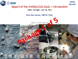 THE MSR CAMPAIGN Report of the MEPAG E2E-iSAG – Introduction