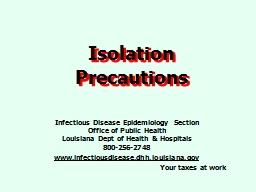 Isolation Precautions Infectious Disease Epidemiology Section