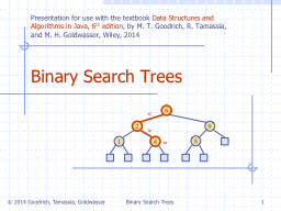 Binary Search Trees 1 Binary Search Trees