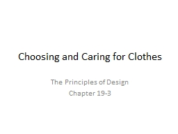 Choosing and Caring for Clothes