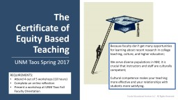 The Certificate of Equity Based Teaching