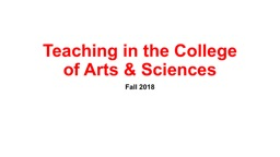 Teaching in the College of Arts & Sciences