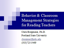Behavior & Classroom Management Strategies for Reading Teachers