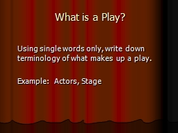 What is a Play? 	 	Using single words only, write down terminology of what makes up a play.