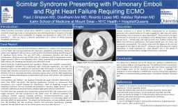 Scimitar Syndrome Presenting with Pulmonary Emboli