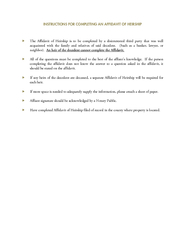 INSTRUCTIONS FOR COMPLETING AN AFFIDAVIT OF HEIRSHIP T