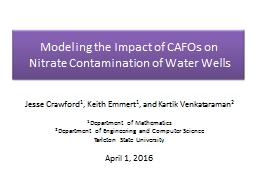 Modeling the Impact of  CAFOs on