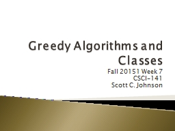 Greedy Algorithms and Classes