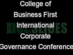 College of Business First International Corporate Governance Conference