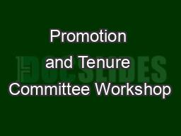 Promotion and Tenure Committee Workshop
