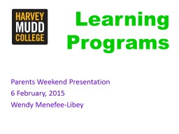 Learning Programs Parents Weekend Presentation