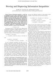 Proving and Disproving Information Inequalities SiuWai