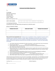 Commercial ard Holder Dispute Form To The Manager HDFC