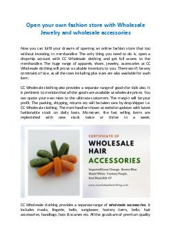 Open your own fashion store with Wholesale Jewelry and wholesale accessories