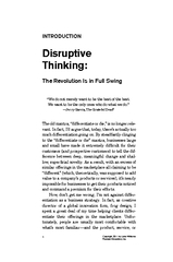 INTRODUCT ON Disruptive Thinking he evolution Is in Fu