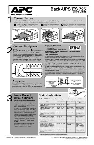 BackUPS ES  Users Guide Connect Battery Equipment Power On and Install Software  Revision   Copyright   American Power Conversion Corp