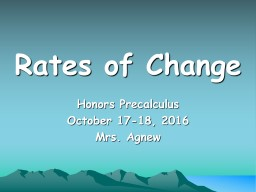 Rates of Change Honors  Precalculus