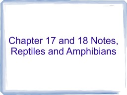 Chapter 17 and 18 Notes, Reptiles and Amphibians