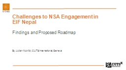 Challenges to NSA Engagement in EIF Nepal