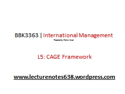 BBK3363   |   International Management
