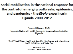 Social mobilisation in the national response for the control of emerging outbreaks, epidemics, and