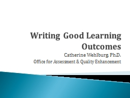 Writing Good Learning Outcomes