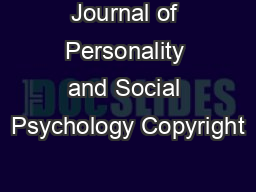 Journal of Personality and Social Psychology Copyright