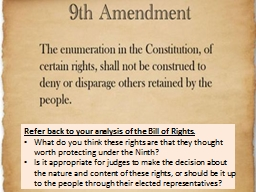 Refer back to your analysis of the Bill of Rights.