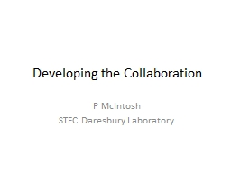 Developing the Collaboration