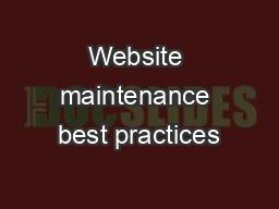 Website maintenance best practices