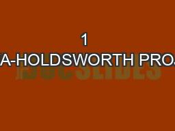 1 WAWA-HOLDSWORTH PROJECT
