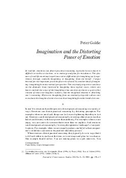 Peter Goldie Imagination and the Distorting Power of E