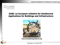 GABI: an European initiative for Geothermal Applications for Buildings and Infrastructure