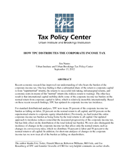 HOW TPC DISTRIBUTE THE CORPORATE INCOME TAX Jim Nunns