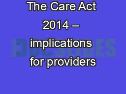 The Care Act 2014 – implications for providers
