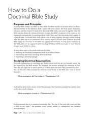 How to Do a Doctrinal Bible Study Purposes and Princip
