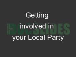 Getting involved in your Local Party