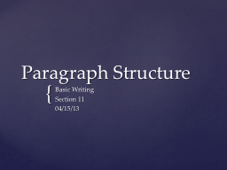 Paragraph Structure Basic Writing