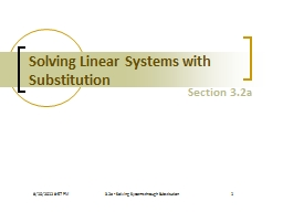 Solving Linear Systems with Substitution