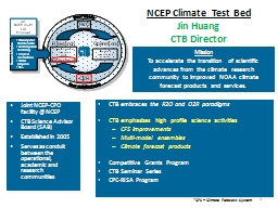 1 NCEP  Climate Test  Bed
