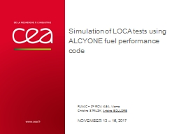 Simulation of LOCA tests using ALCYONE fuel performance code